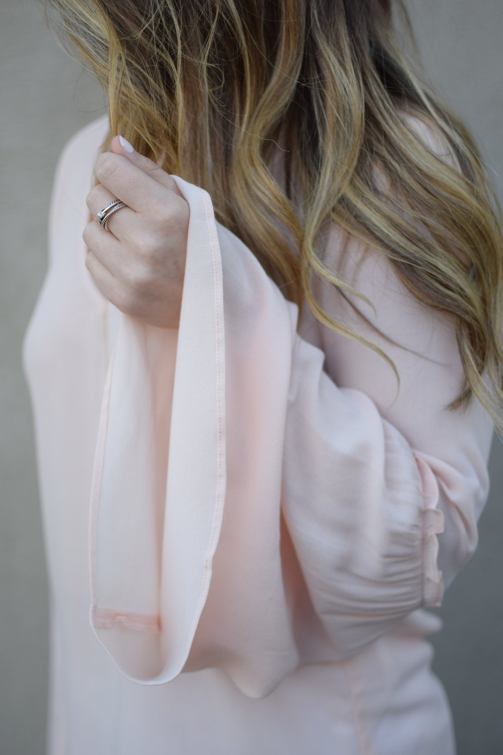 blush bell sleeve top / david yurman ring / spring outfit idea / balayage summer hair