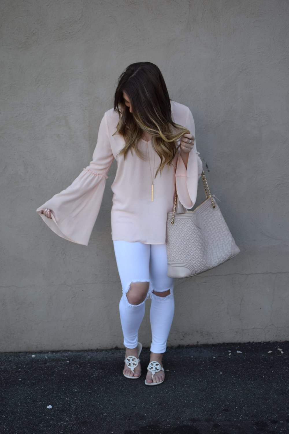 041f95747bef blush bell sleeve top   white distressed denim   tory burch miller sandal    nashelle layered