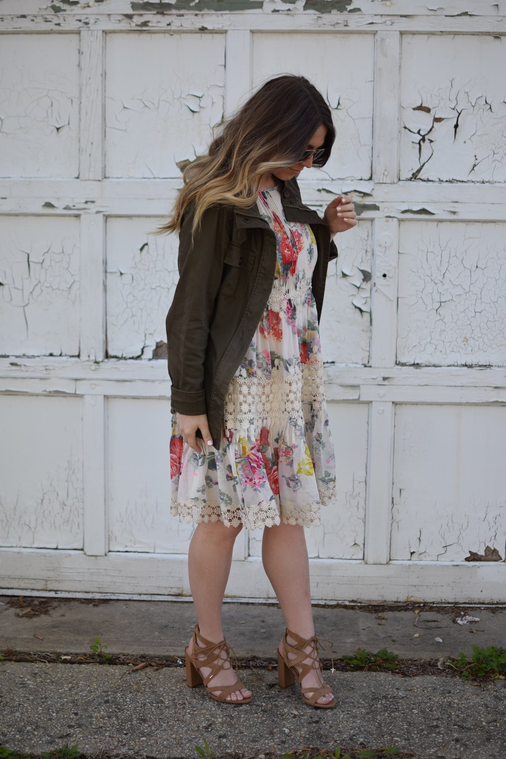 anthropology floral & lace dress / spring & summer outfit idea / how to style a utility jacket / lace up sandals