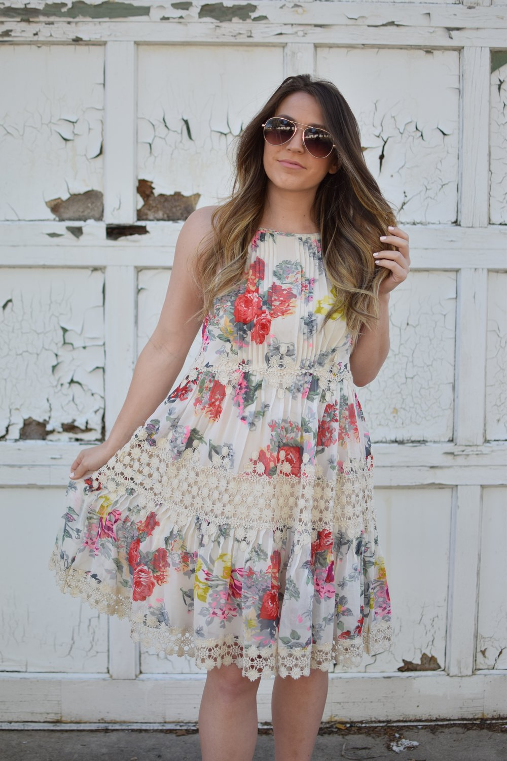 anthropology floral & lace dress / spring & summer outfit idea / guest of wedding dress idea