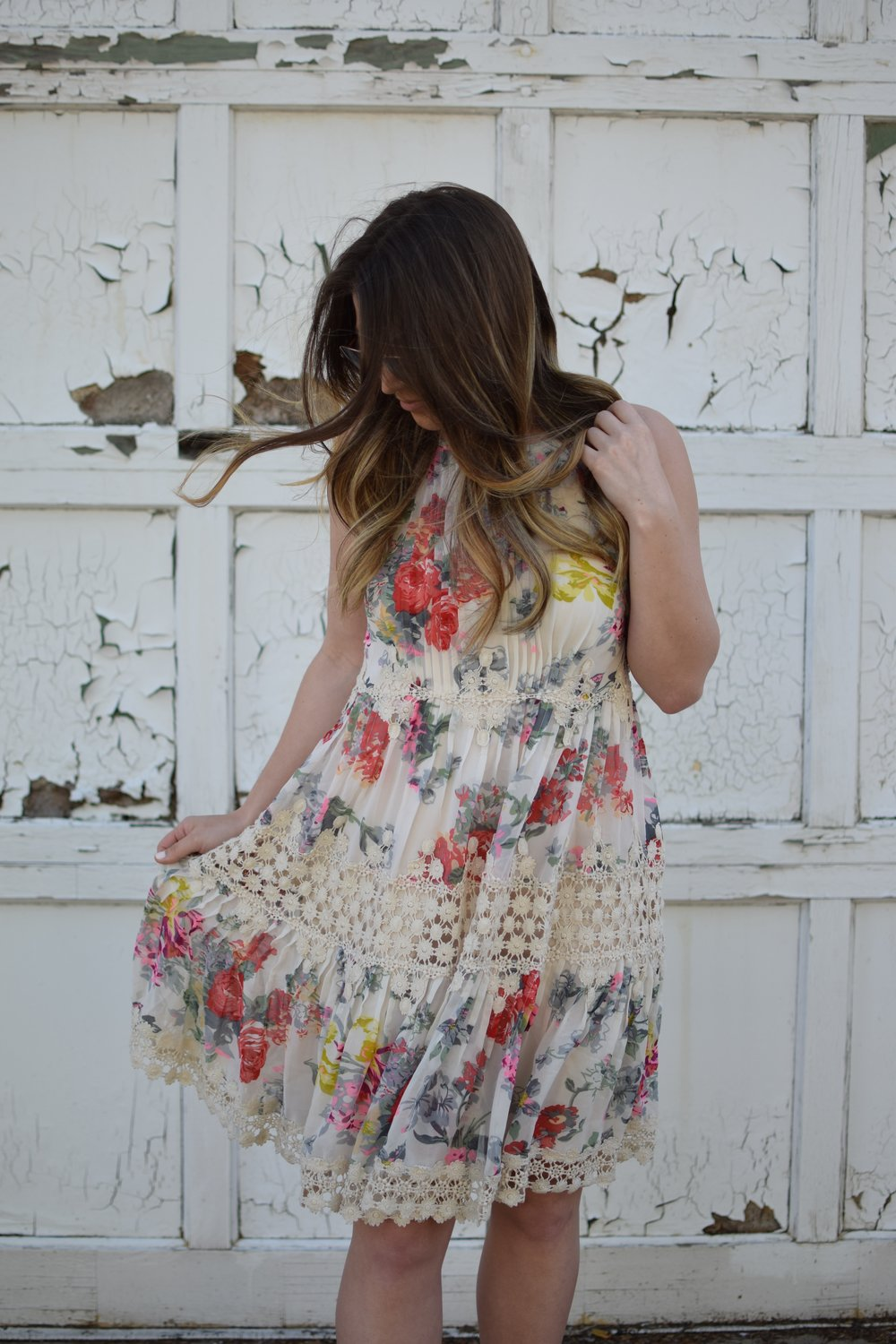 anthropology floral & lace print dress / spring & summer outfit idea / guest of wedding dress idea