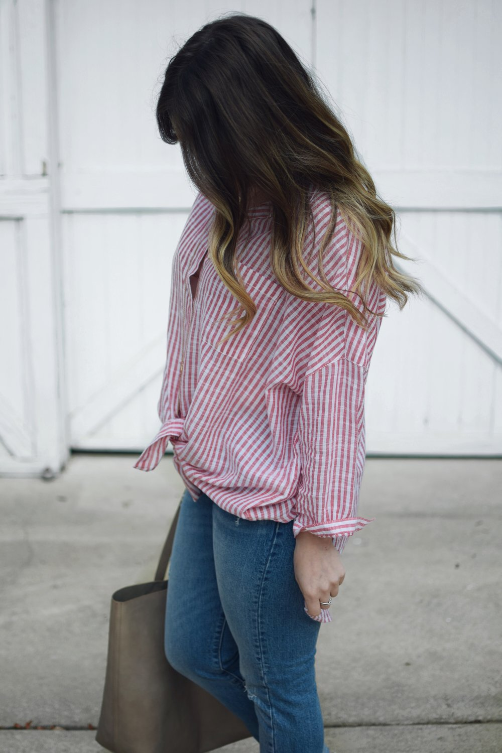 red & white striped button up / summer outfit idea