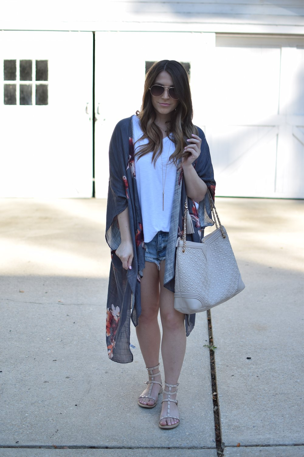 summer outfit idea / denim cutoffs + white tee + floral kimono + gladiator sandals