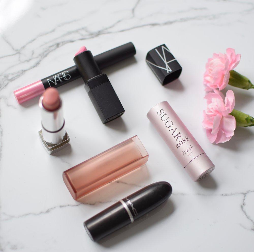 summer lip colors / mac cosmetics creme up / maybelline peach buff / nars roman holiday / fresh sugar lip tint rose