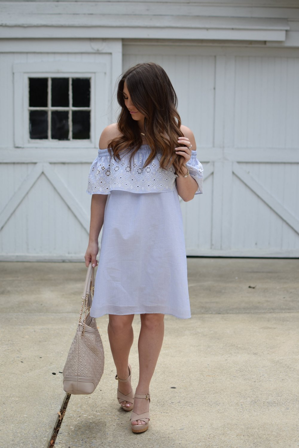summer outfit idea / off the shoulder embroidered dress / wedges / tory burch bag