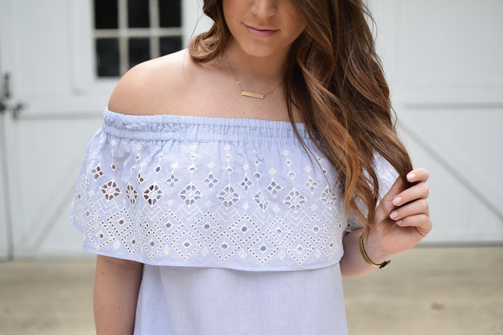 summer outfit idea / off the shoulder embroidered dress