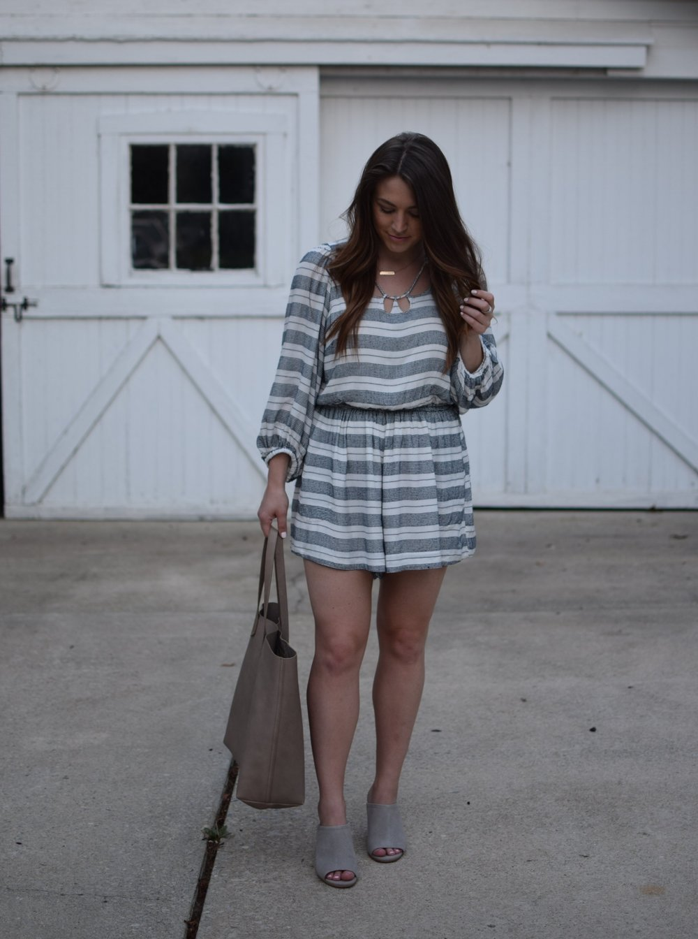 navy & white striped romper / grey mules / madewell transporter tote
