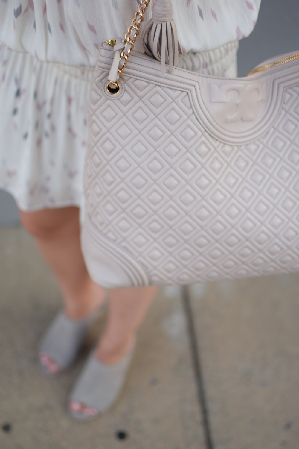 bishop & young drop waist dress / grey mules / tory burch bag / summer outfit idea