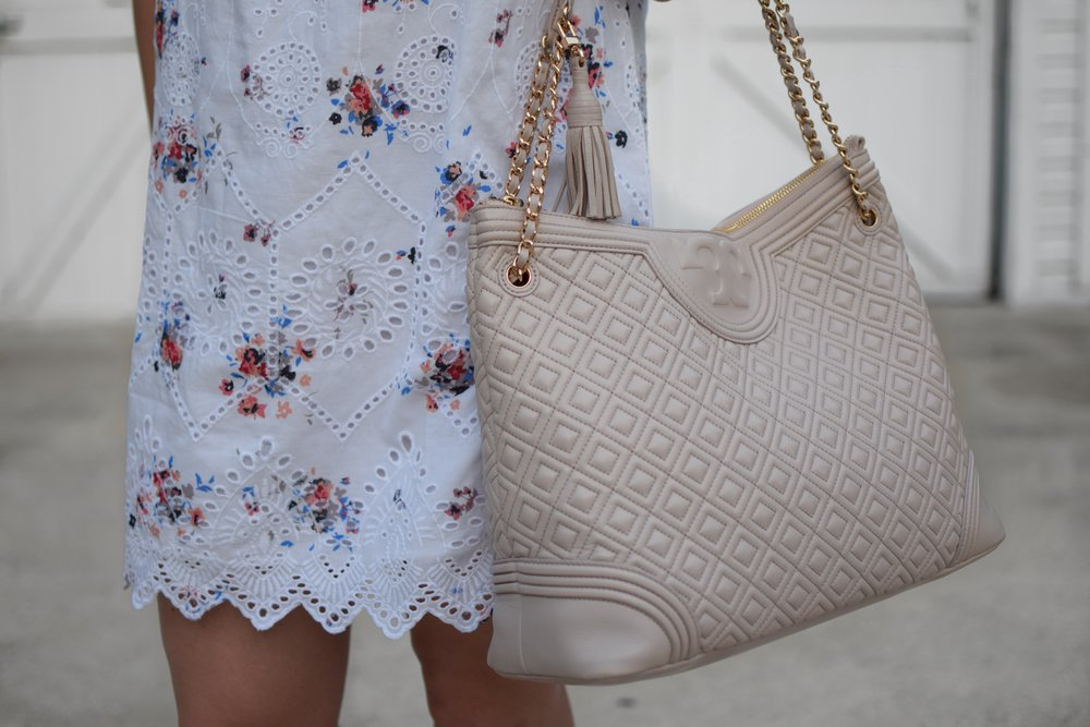 loft eyelet & floral print dress / tory burch bag / summer dress / summer outfit idea