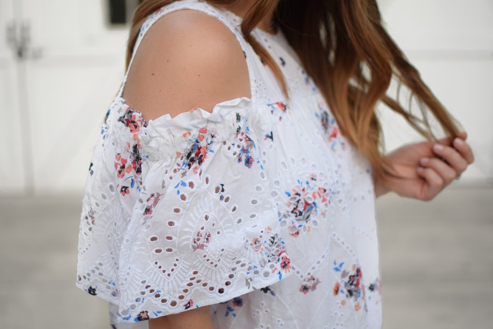 loft eyelet & floral print dress / cold shoulder dress / summer dress / summer outfit idea