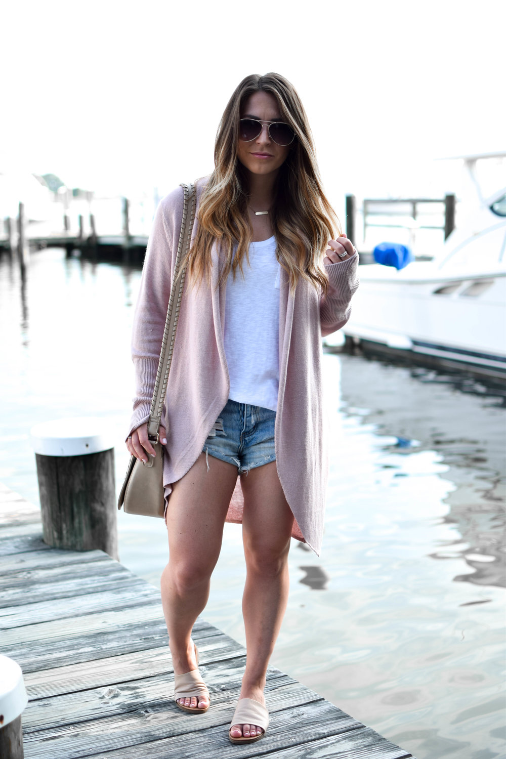 Nordstrom anniversary sale, Leith cardigan, Calson basic tee, one teaspoon denim shorts, summer outfit idea, fall transition outfit idea