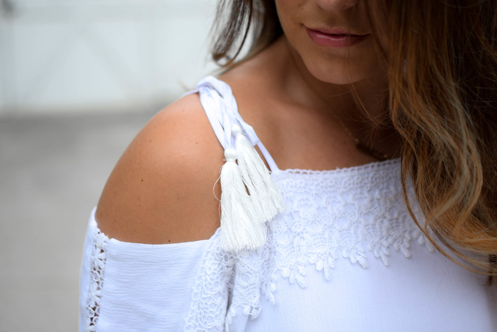 nell + rose white cold shoulder top, summer outfit idea