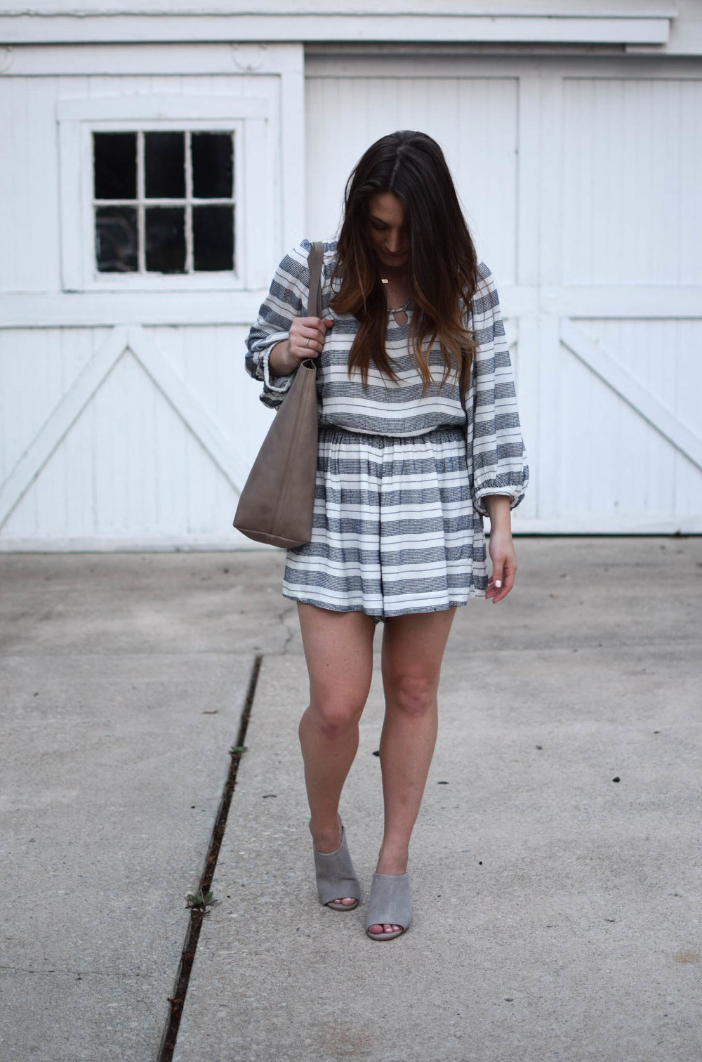 Anthropologie striped romper / madewell tote / summer outfit idea