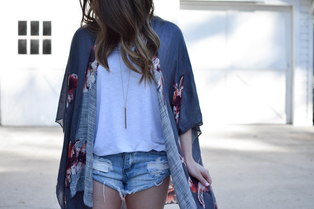 summer outfit idea / floral kimono / denim cutoffs / basic white tee