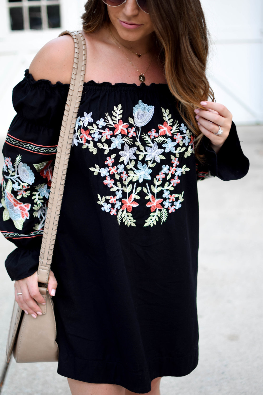 free people dress / off the shoulder dress / embroidered dress / fall transition outfit idea