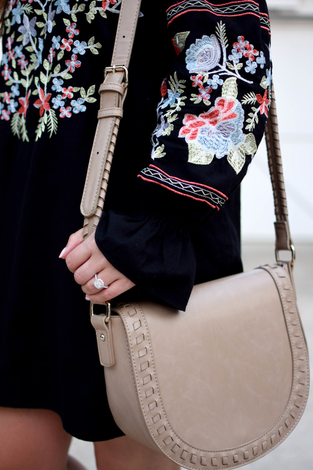free people dress / off the shoulder dress / embroidered dress / fall transition outfit idea / sole society cross body bag