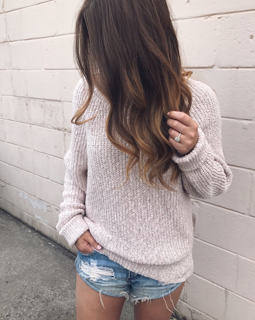 free people sweater / one teaspoon shorts / fall transition outfit idea
