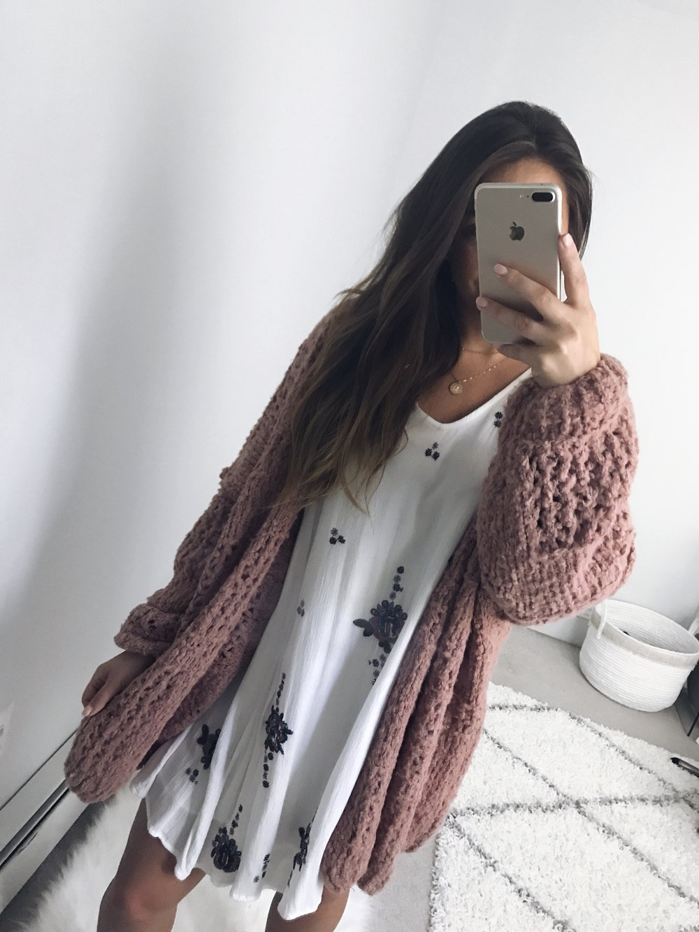fall transition outfit idea / how to transition a dress into fall / fall outfit idea / fall outfit inspiration / free people dress & cardigan