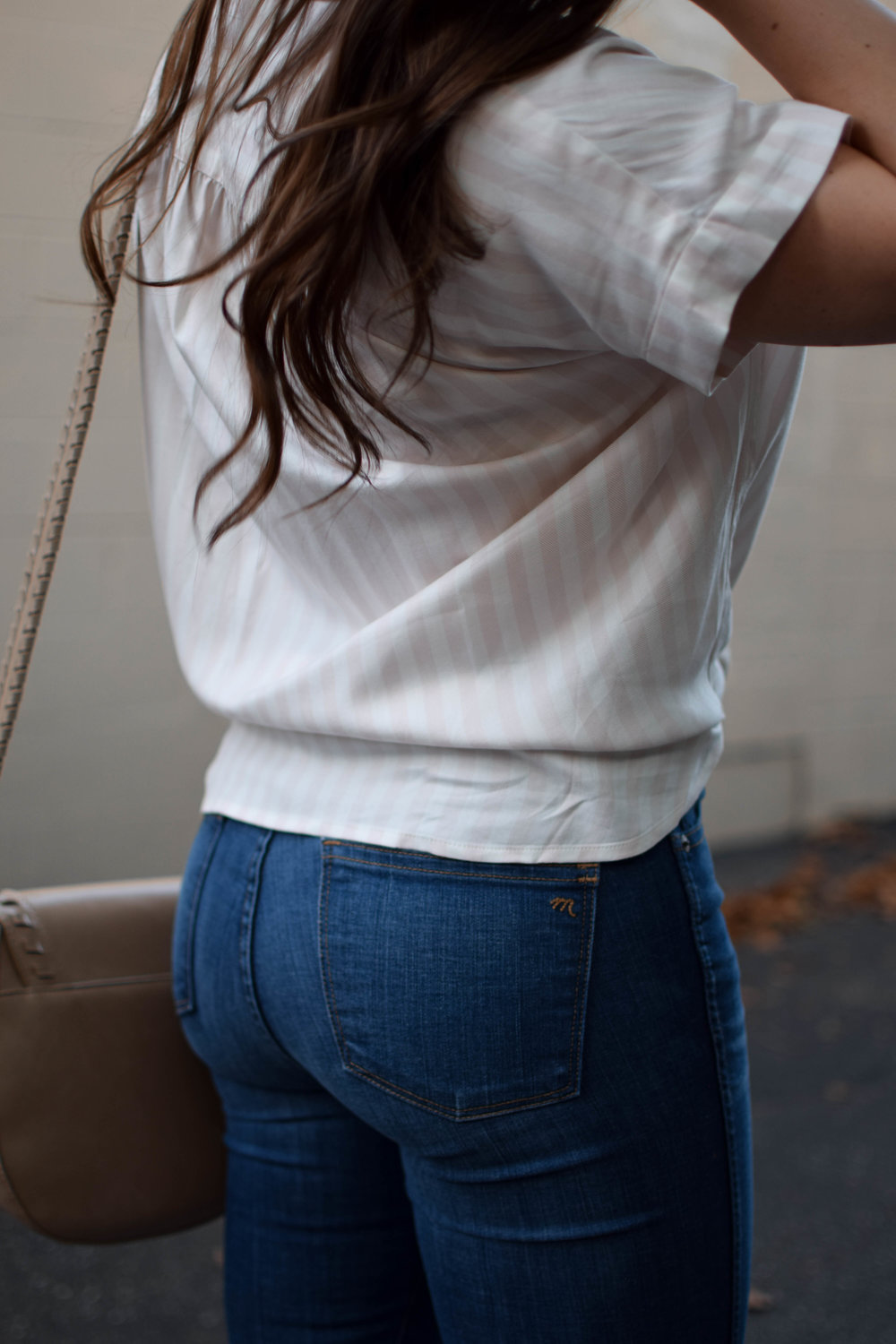 fall transition outfit idea / fall outfit idea / fall outfit inspiration / madewell striped button up / madewell high rise denim