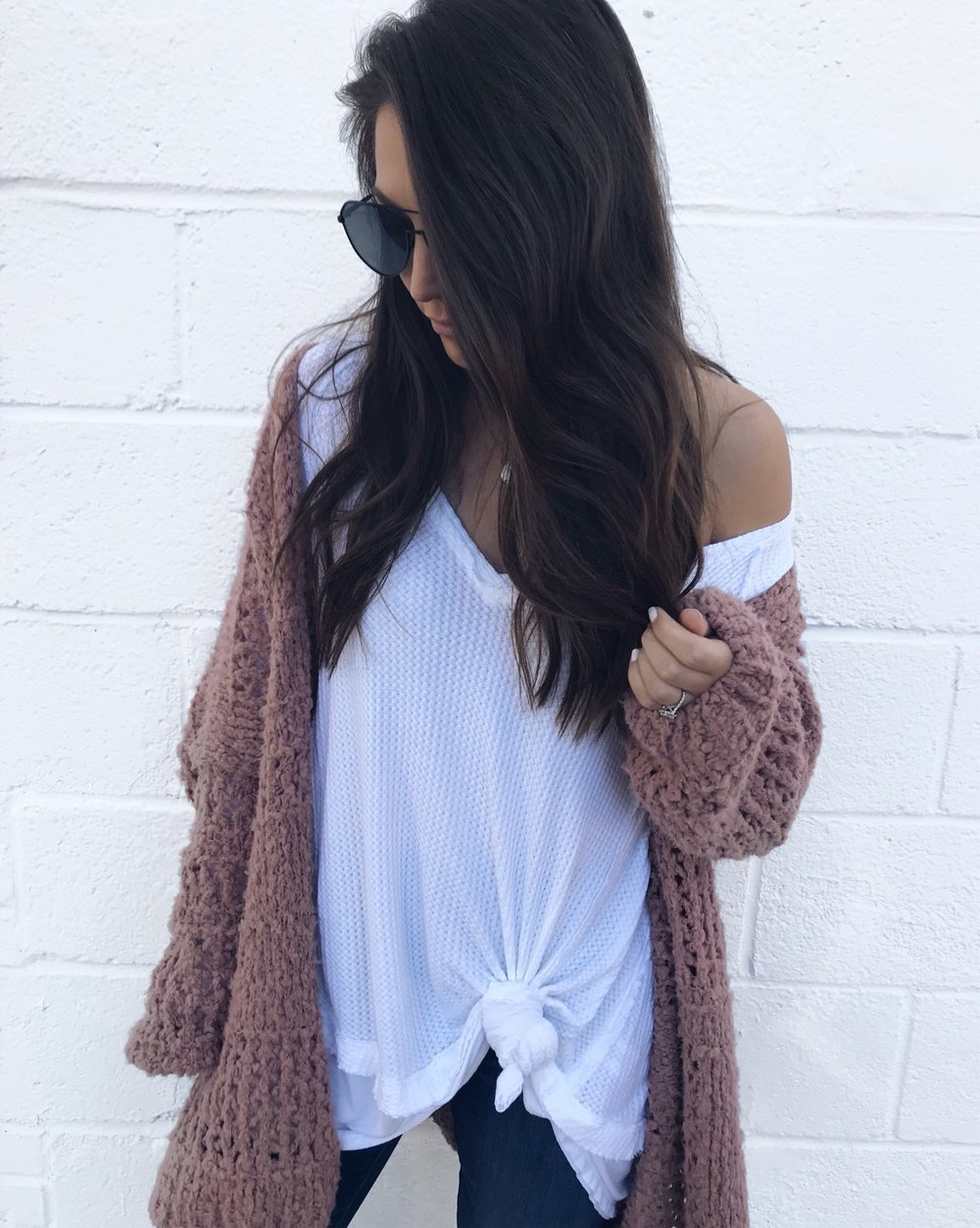 fall fashion / fall outfit idea / fall outfit inspiration / fall feels / fall vibes / sweater weather / fall layers / white thermal + blush cardigan