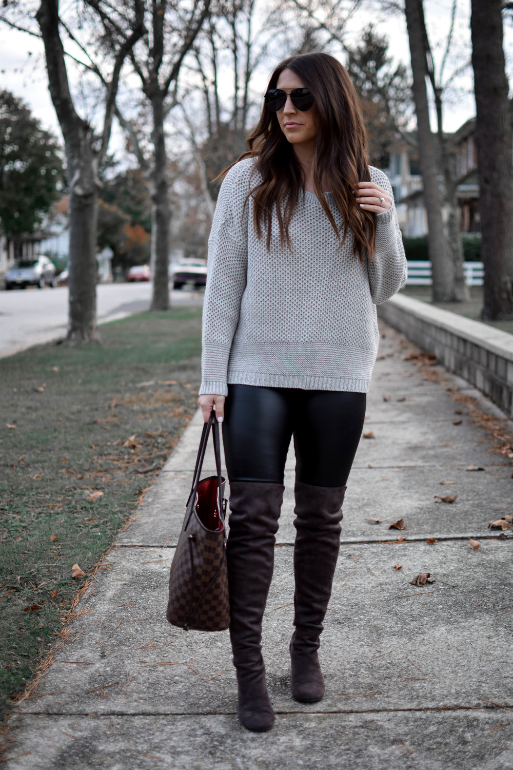 Faux Leather Leggings + Lace Up Sweater | Pine Barren Beauty | fall fashion, fall outfit idea, fall outfit inspiration, thanksgiving outfit idea