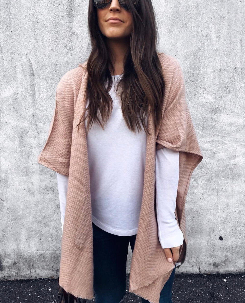 fall fashion, fall outfit idea, fall outfit inspiration, cozy blush poncho, outfit of the day
