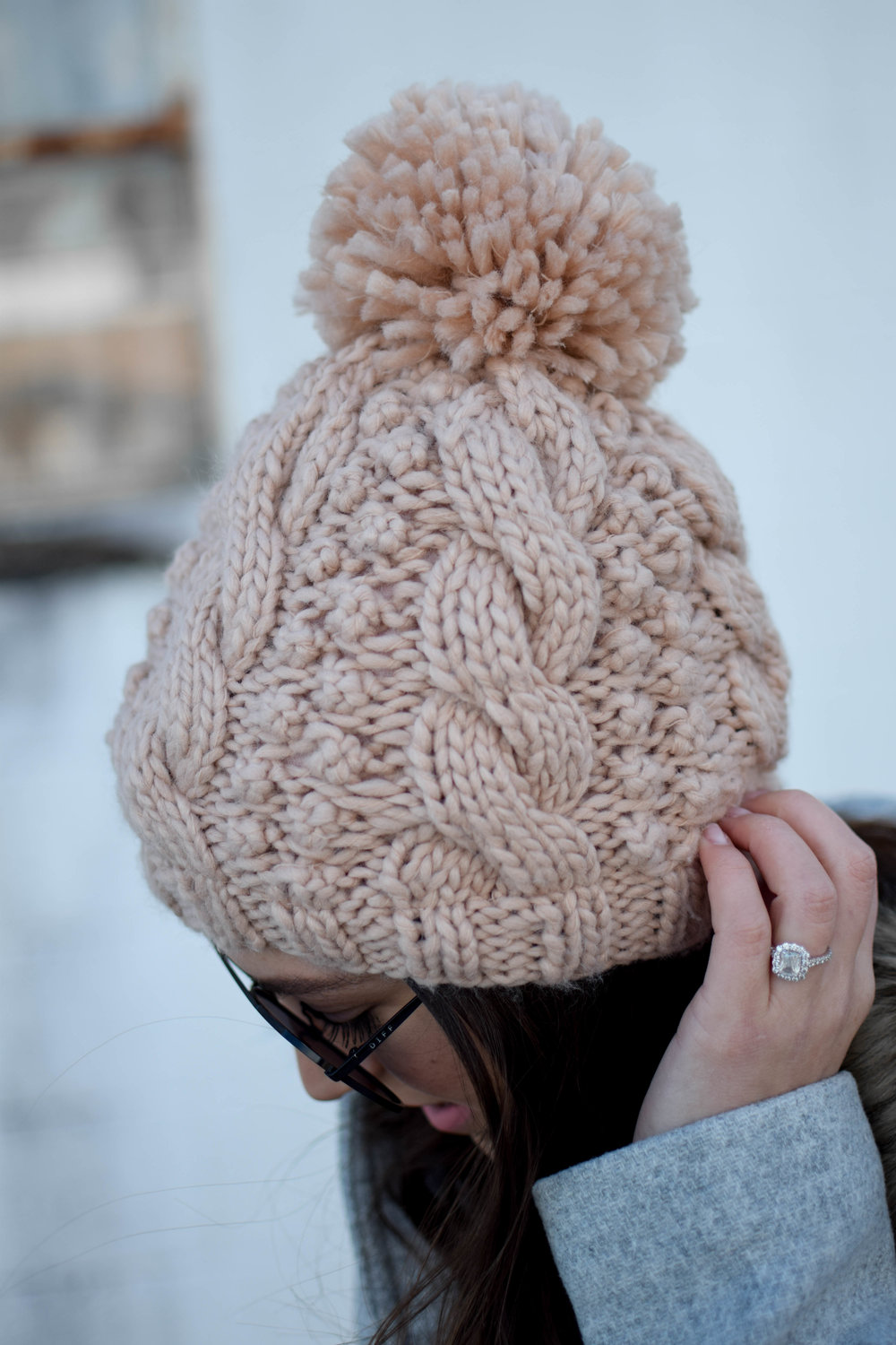 The J. Crew Coat You Need This Winter | Pine Barren Beauty | winter fashion, winter outfit idea, cable knit beanie with pom