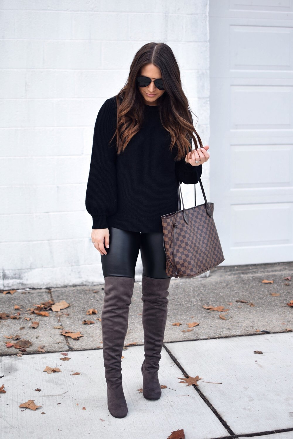 My Outfits On Sale | Pine Barren Beauty | all black outfit idea, fall outfit idea, winter outfit idea, faux leather leggings, over the knee boots, Black Friday sales