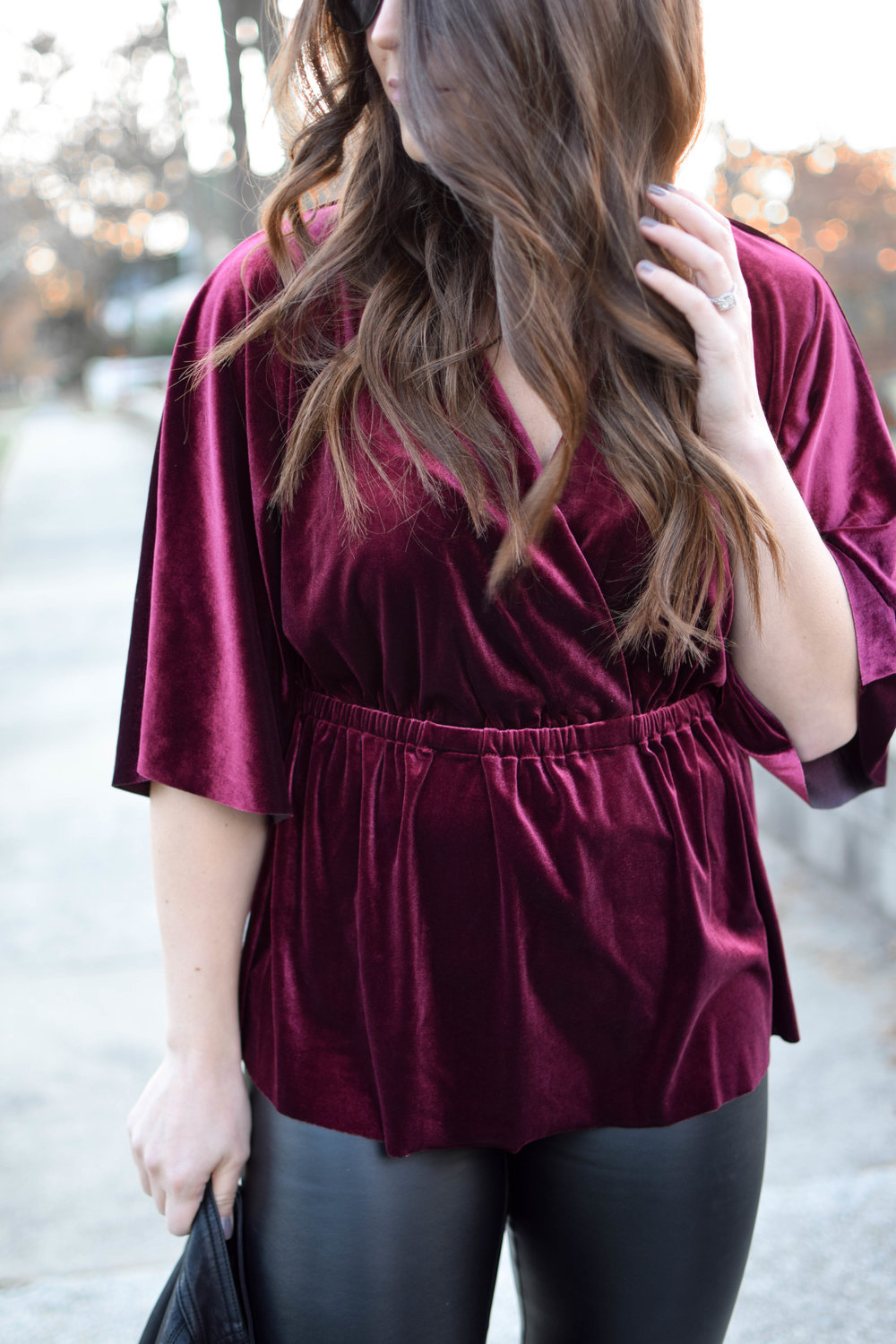 Holiday Outfit Idea #1: Velvet | Pine Barren Beauty | winter fashion, winter style, holiday fashion, velvet top, faux leather pants