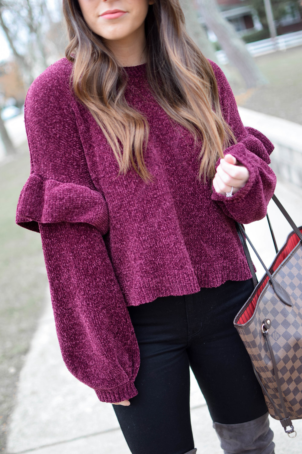 Holiday Outfit Idea: Chenille Ruffle Sleeve Sweater | Pine Barren Beauty | winter outfit idea, winter outfit inspiration, Christmas outfit idea, over the knee boots, black high waisted denim