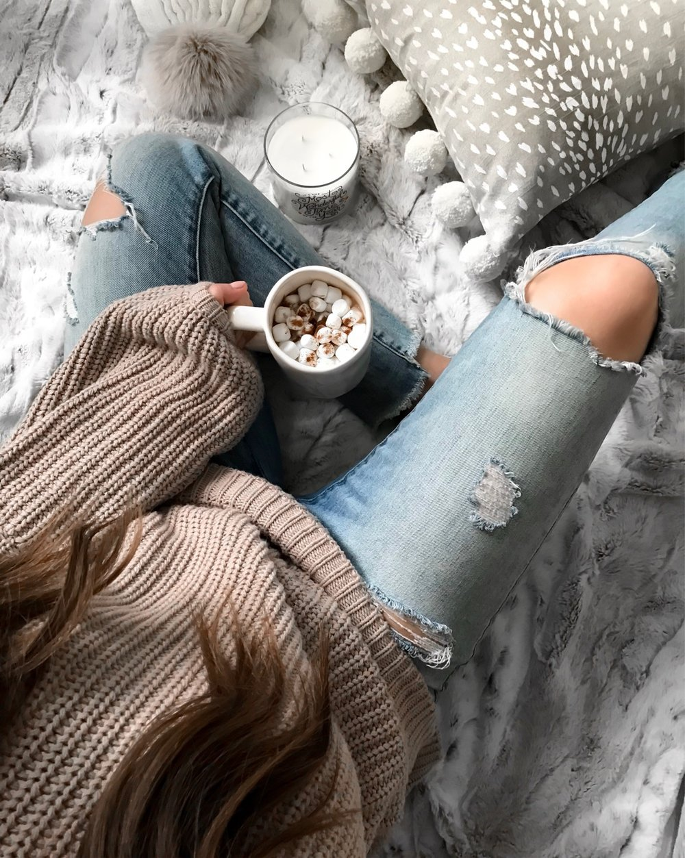 Weekend Sales & Instagram Round Up | Pine Barren Beauty | winter fashion, winter outfit idea, winter essentials, distressed denim, cozy sweater, view from above, holiday flat lay
