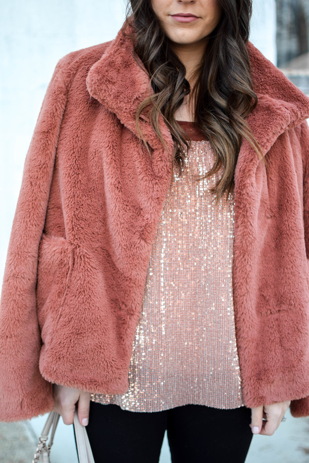 Holiday Outfit Idea: Sequins & Faux Fur | Pine Barren Beauty | holiday outfit, winter outfit idea, winter fashion, winter outfit inspiration, faux fur coat, off the shoulder sequin top, tory burch bag