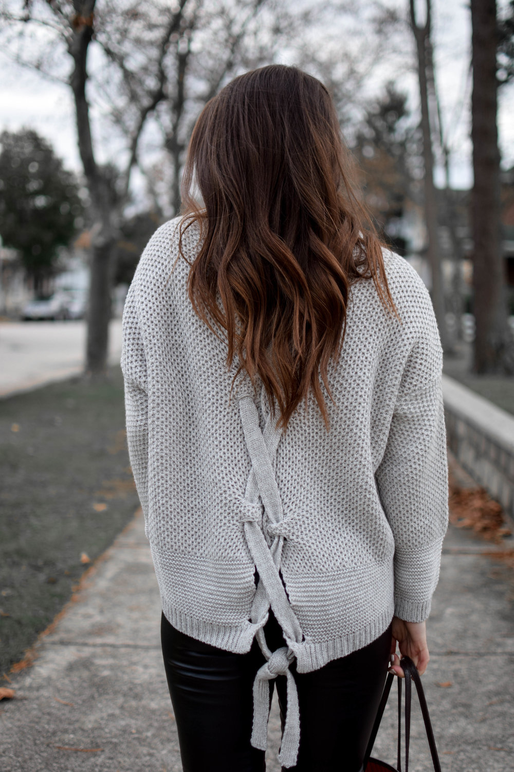 Weekend Sales + Free Shipping Day | Pine Barren Beauty | winter fashion, winter outfit idea, winter outfit inspiration, cozy sweater, sweater weather, lace up sweater, express sale, hair goals