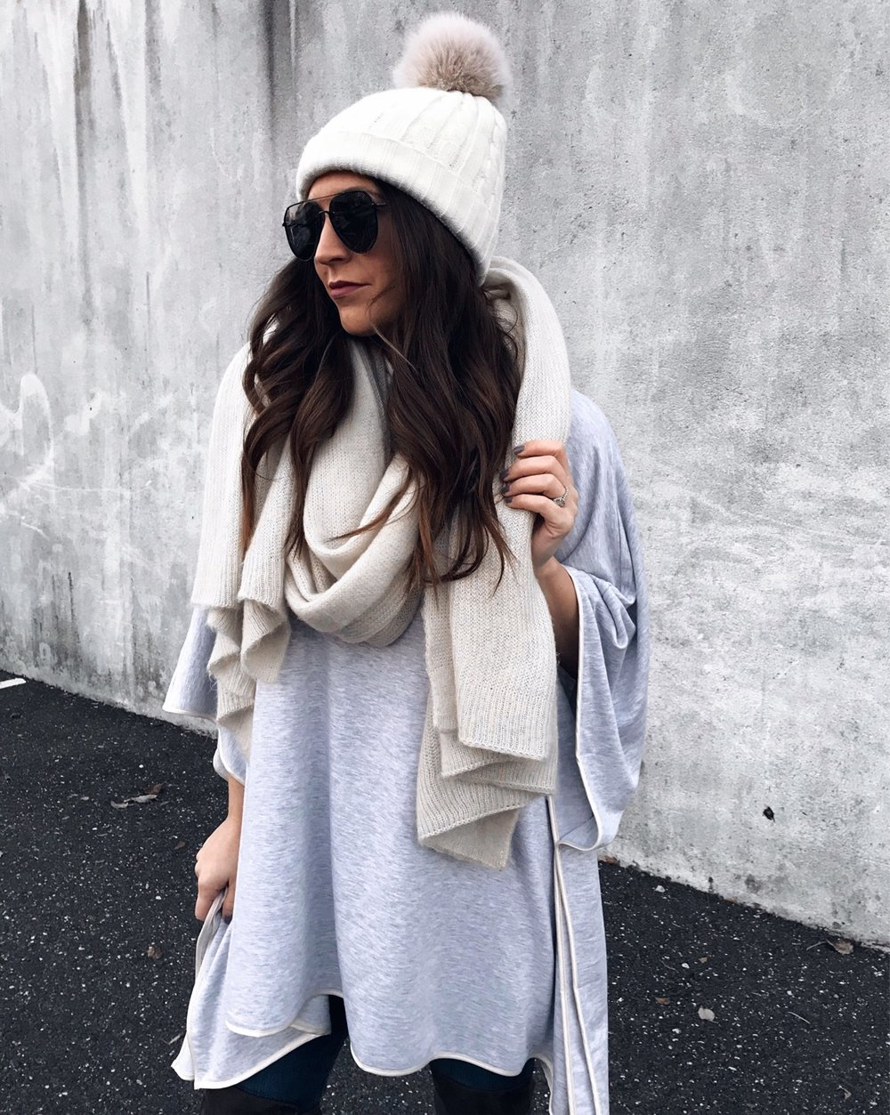 Weekend Sales + Free Shipping Day | Pine Barren Beauty | winter fashion, winter outfit idea, winter outfit inspiration, cozy sweater, sweater weather, Lou and grey poncho, hair goals, hair vibes