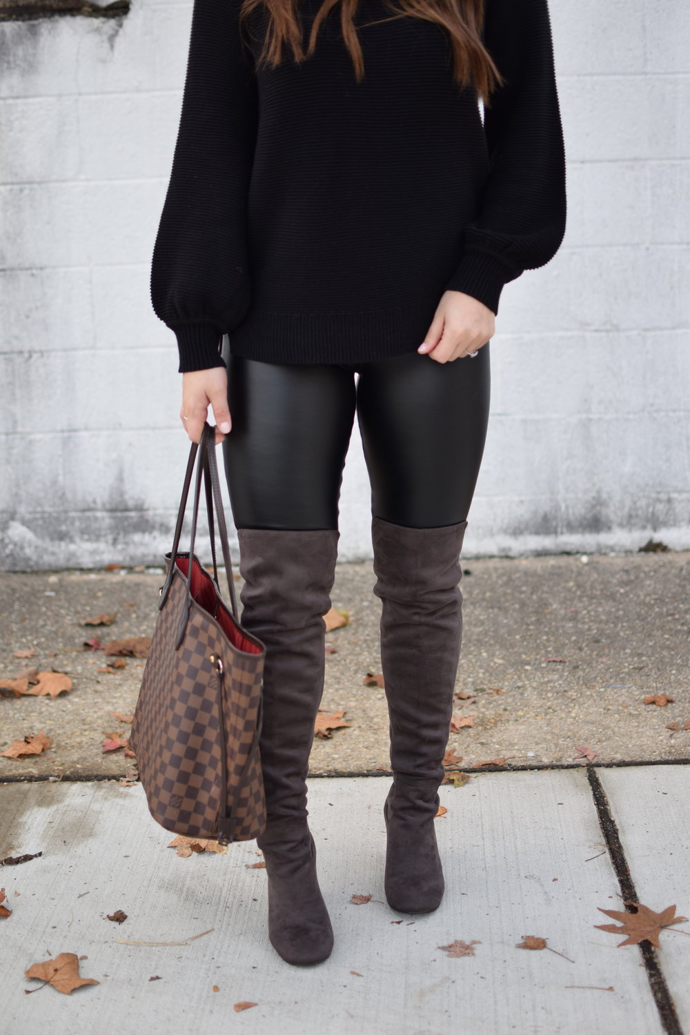 Weekend Sales + Free Shipping Day | Pine Barren Beauty | winter fashion, winter outfit idea, winter outfit inspiration, cozy sweater, sweater weather, faux leather leggings, over the knee boots, how to style faux leather leggings