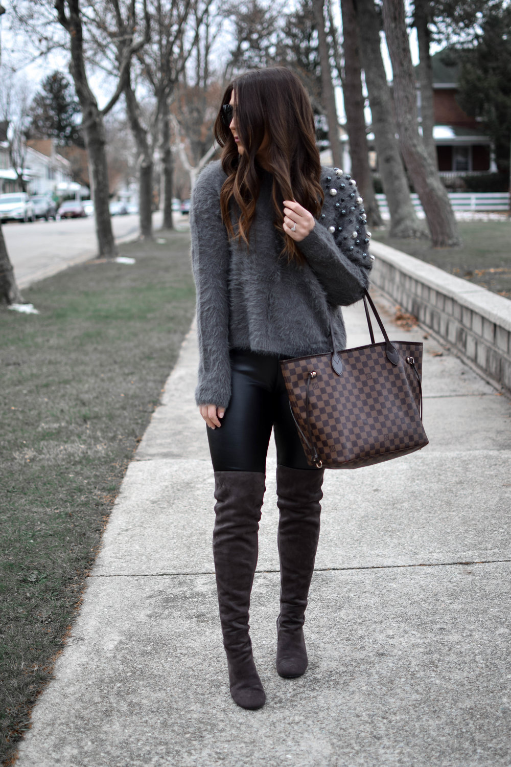 How to Style an Embellished Sweater | Pine Barren Beauty | winter outfit idea, winter outfit inspiration, winter fashion, holiday outfits idea, embellished sweater, sweater with pearls, faux leather leggings, over the knee boots