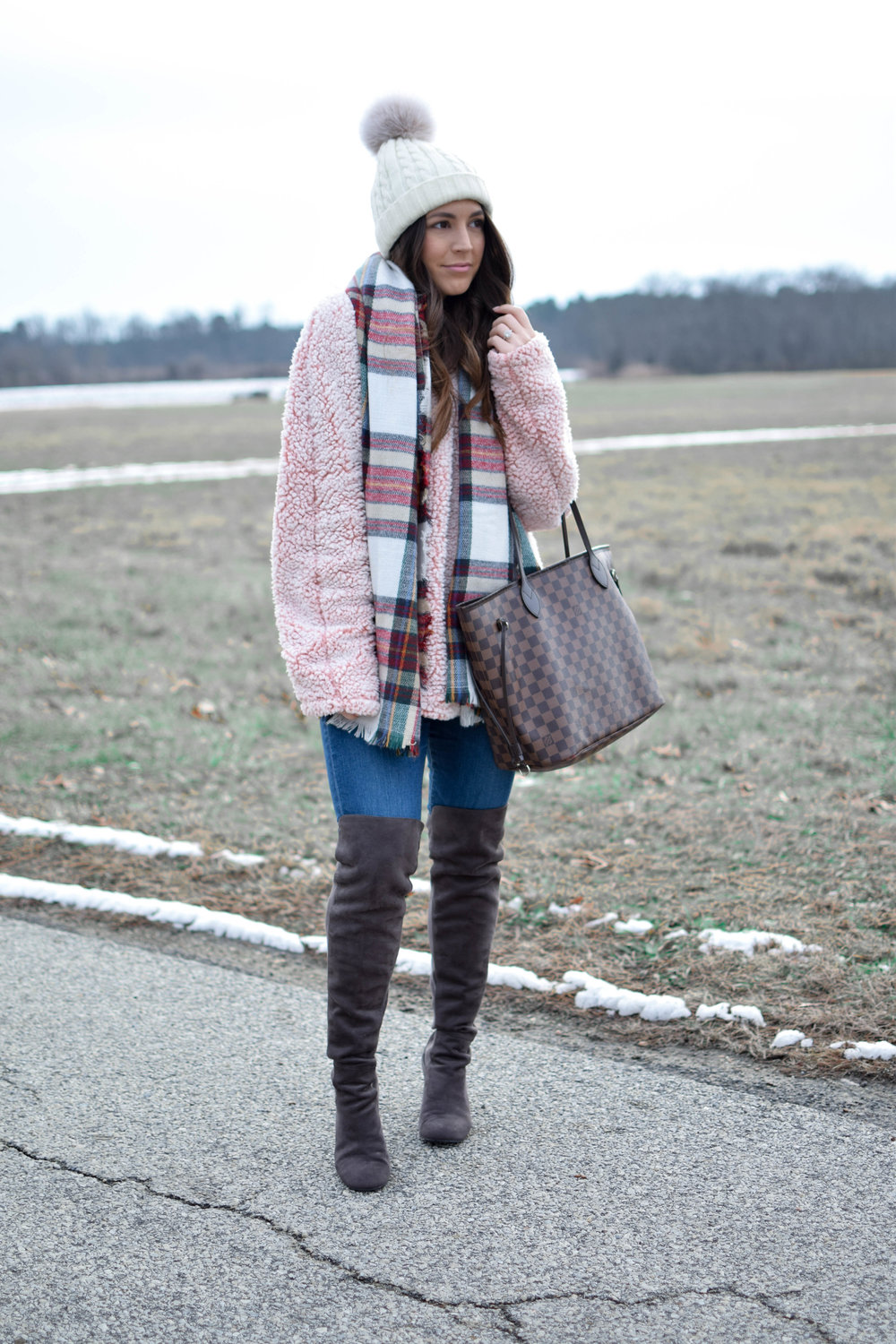 The Best of 2017 | Pine Barren Beauty | blush sherpa pullover, fleece pullover, winter outfit idea, winter outfit inspiration, over the knee boots, plaid scarf