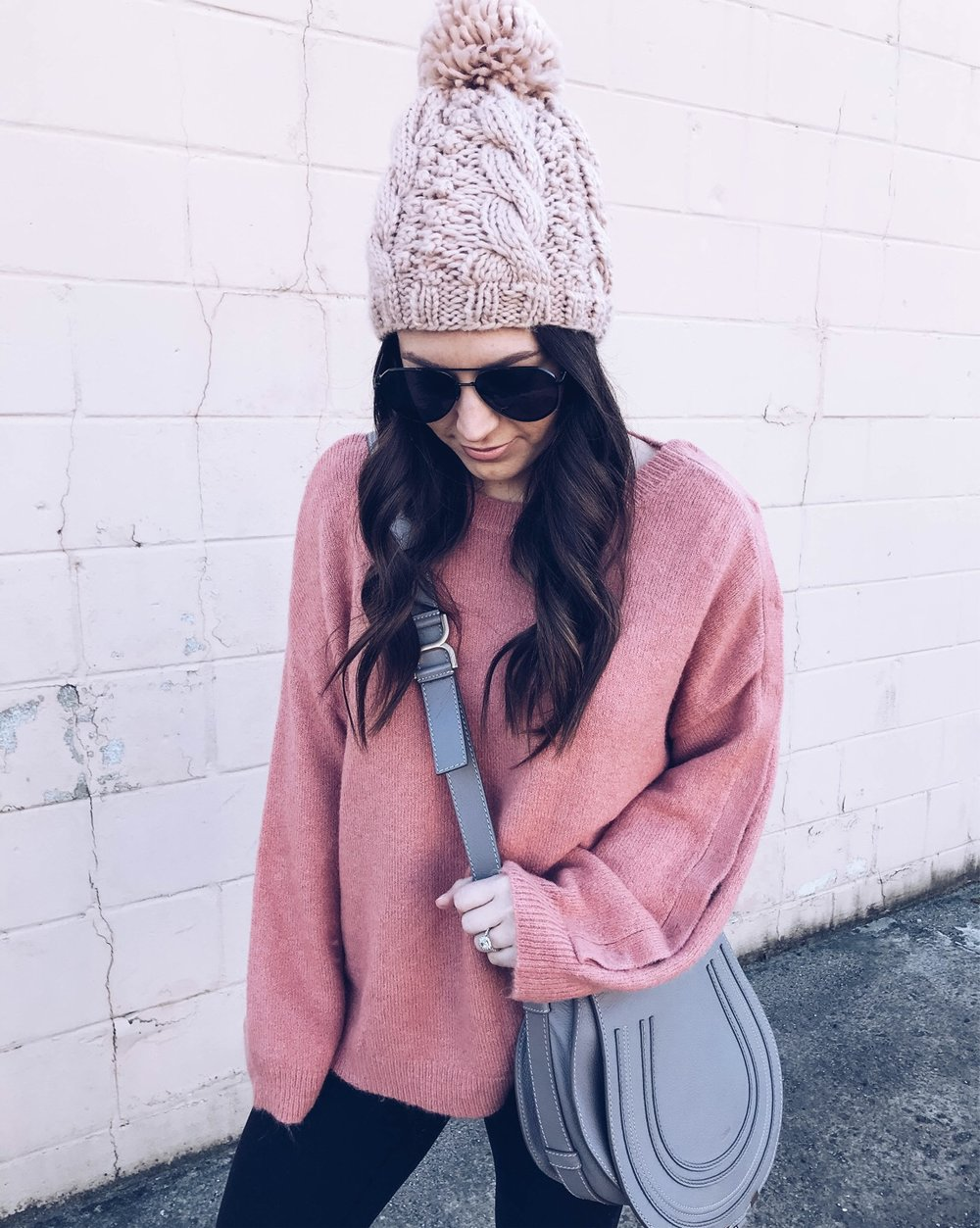 Instagram Round Up | Pine Barren Beauty | winter fashion, winter outfit idea, blush sweater & beanie, Chloe cross body bag, cozy outfit idea, cozy vibes