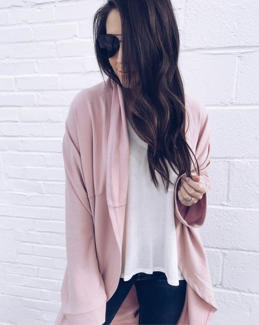 Instagram Round Up | Pine Barren Beauty | best cardigan for the spring transition, blush cardigan, basic white tee, outfit of the day