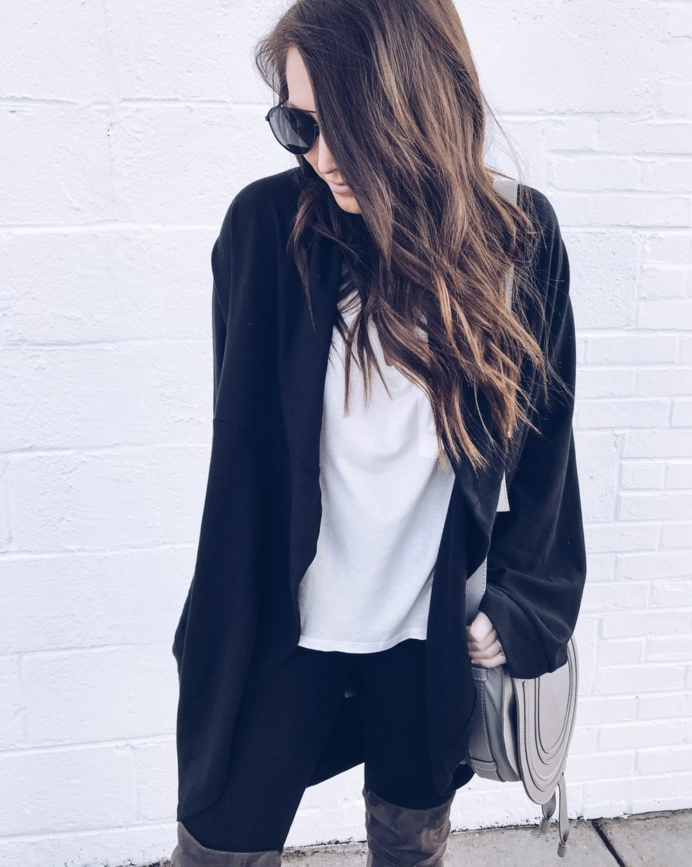 Instagram Round Up | Pine Barren Beauty | outfit of the day, basic tee & black cardigan, oversized cardigan, spring transition outfit idea
