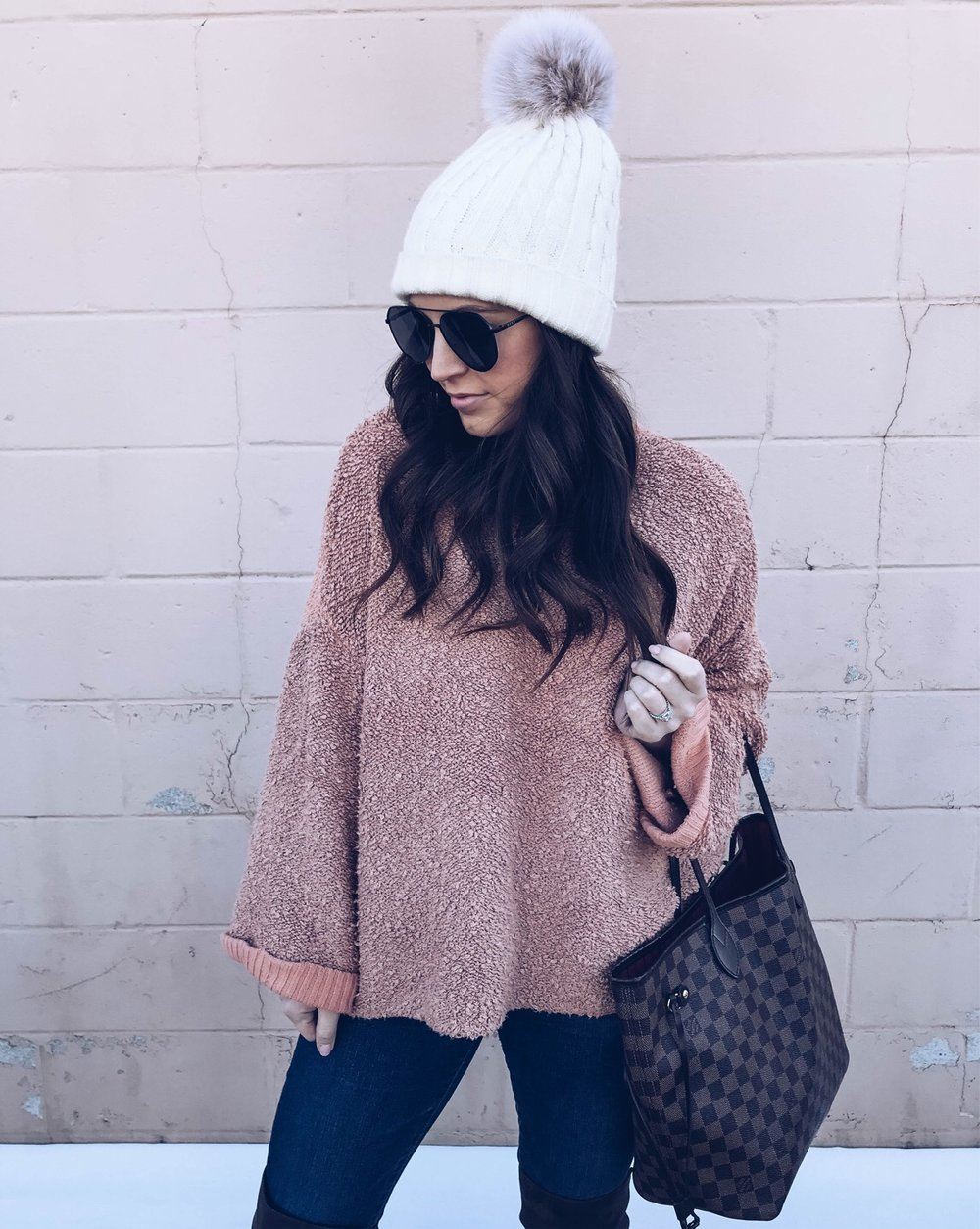 Instagram Round Up | Pine Barren Beauty | outfit of the day, winter outfit idea, winter fashion, oversized sweater & pom beanie, free people sweater