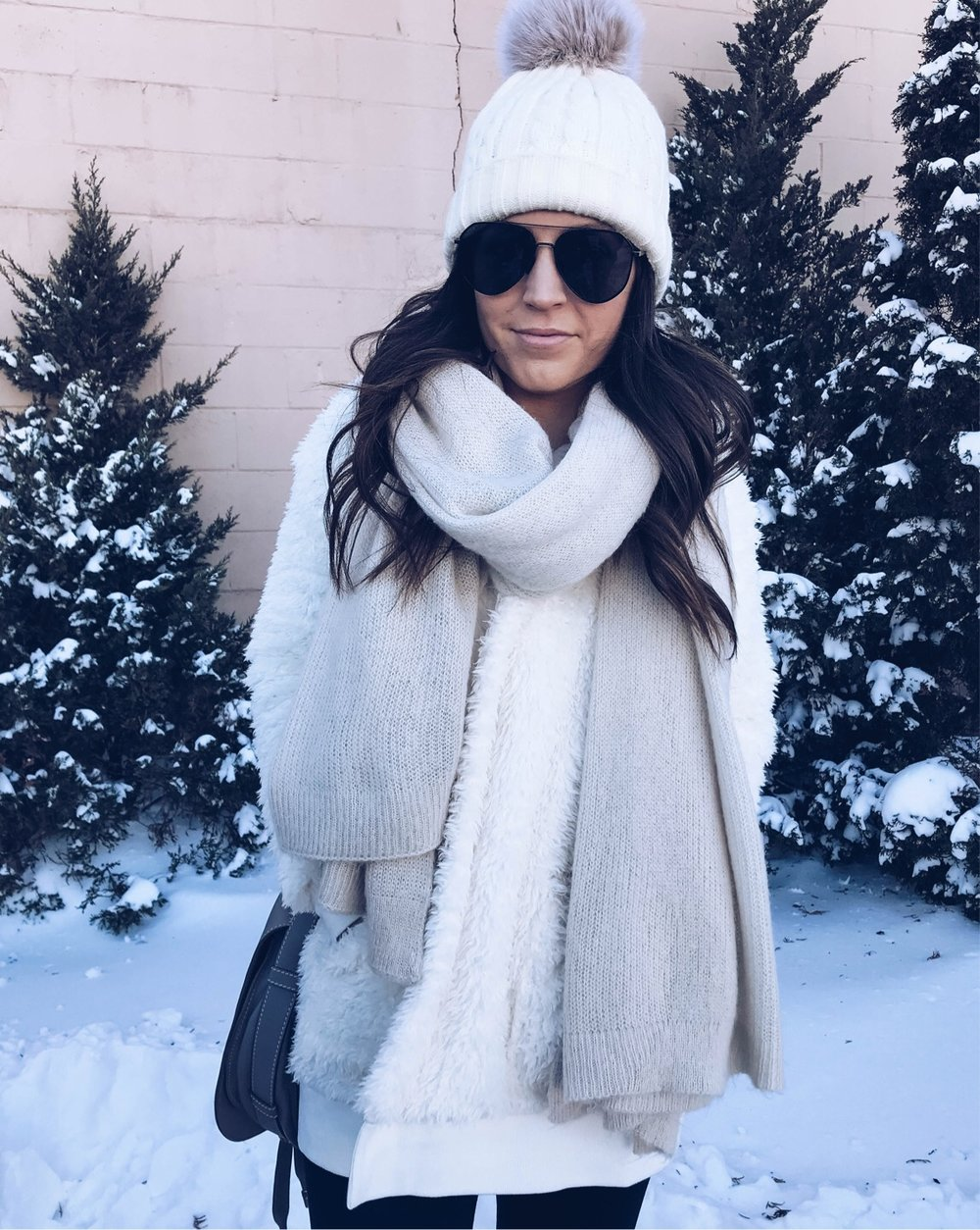 Instagram Round Up | Pine Barren Beauty | winter outfit idea, cozy outfit idea, cozy vibes, teddy coat & oversized scarf, black aviator sunglasses, pom beanie