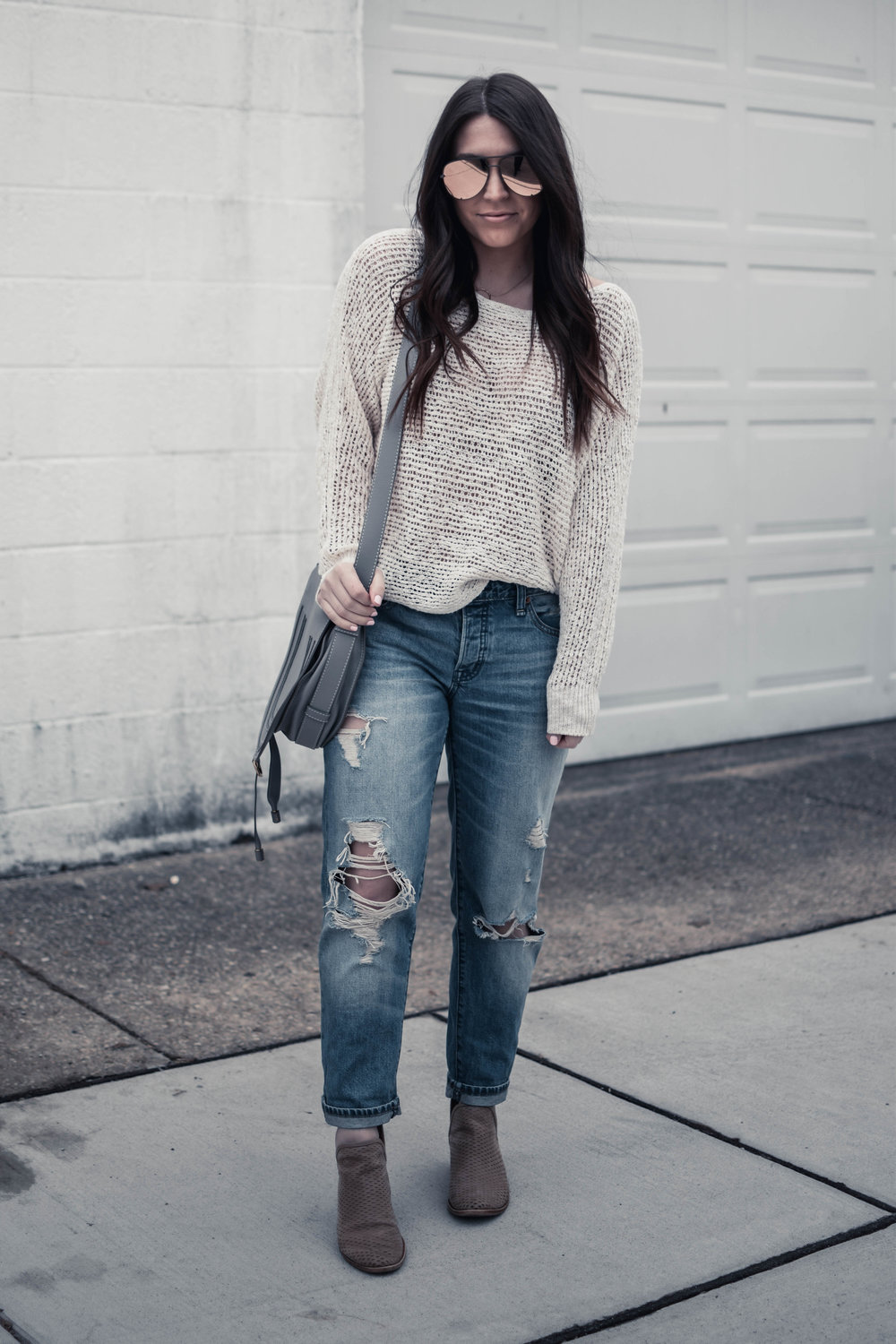Styling Distressed Denim for the Spring Transition | Pine Barren Beauty | light weight sweater + distressed denim, Abercrombie denim, oversized sunglasses, spring outfit idea, spring transition outfit idea, spring outfit inspiration