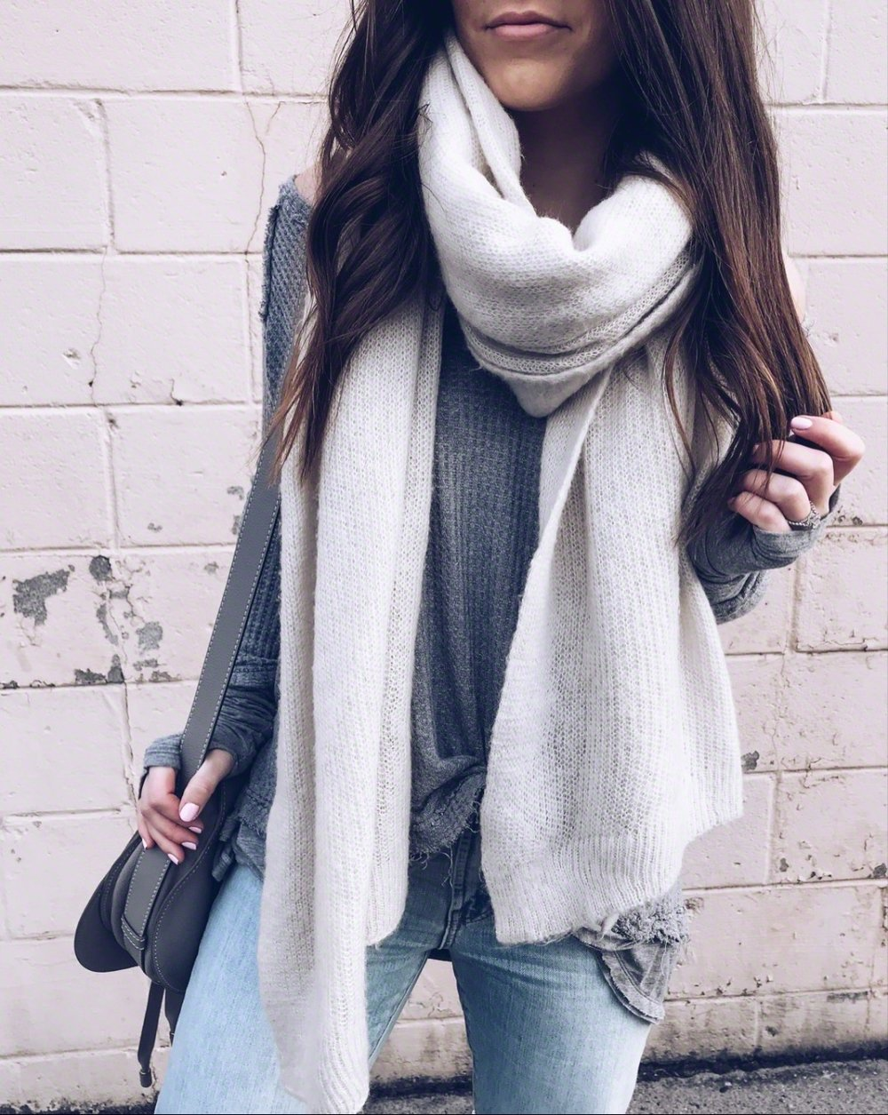 Must Have White Top for Spring | Pine Barren Beauty | winter outfit idea, winter layers, cozy outfit idea, cozy vibes, free people scarf, free people thermal, light wash denim, chloe bag