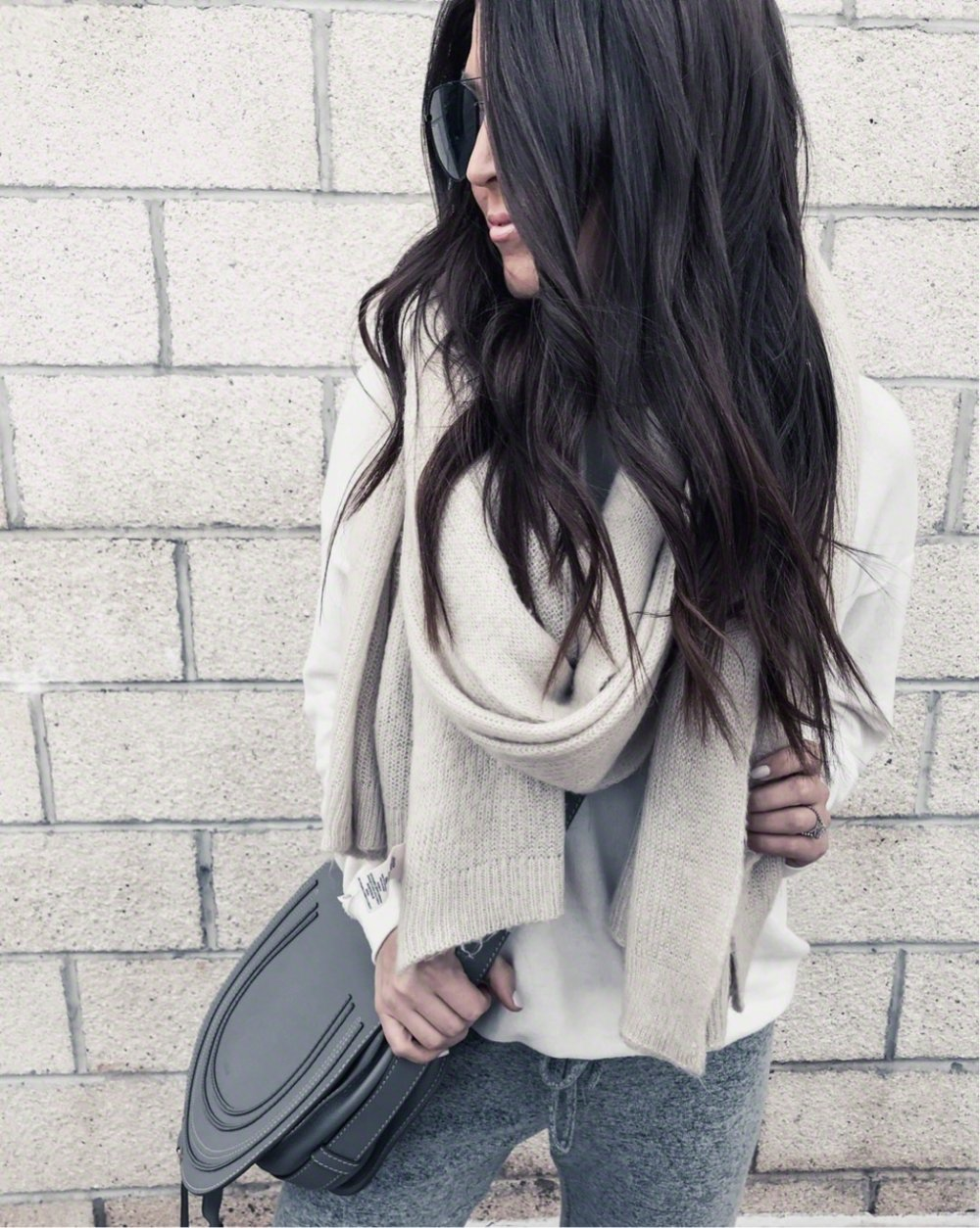 Must Have White Top for Spring | Pine Barren Beauty | winter outfit idea, winter layers, cozy outfit idea, free people scarf, hair goals, chloe bag, athelisure