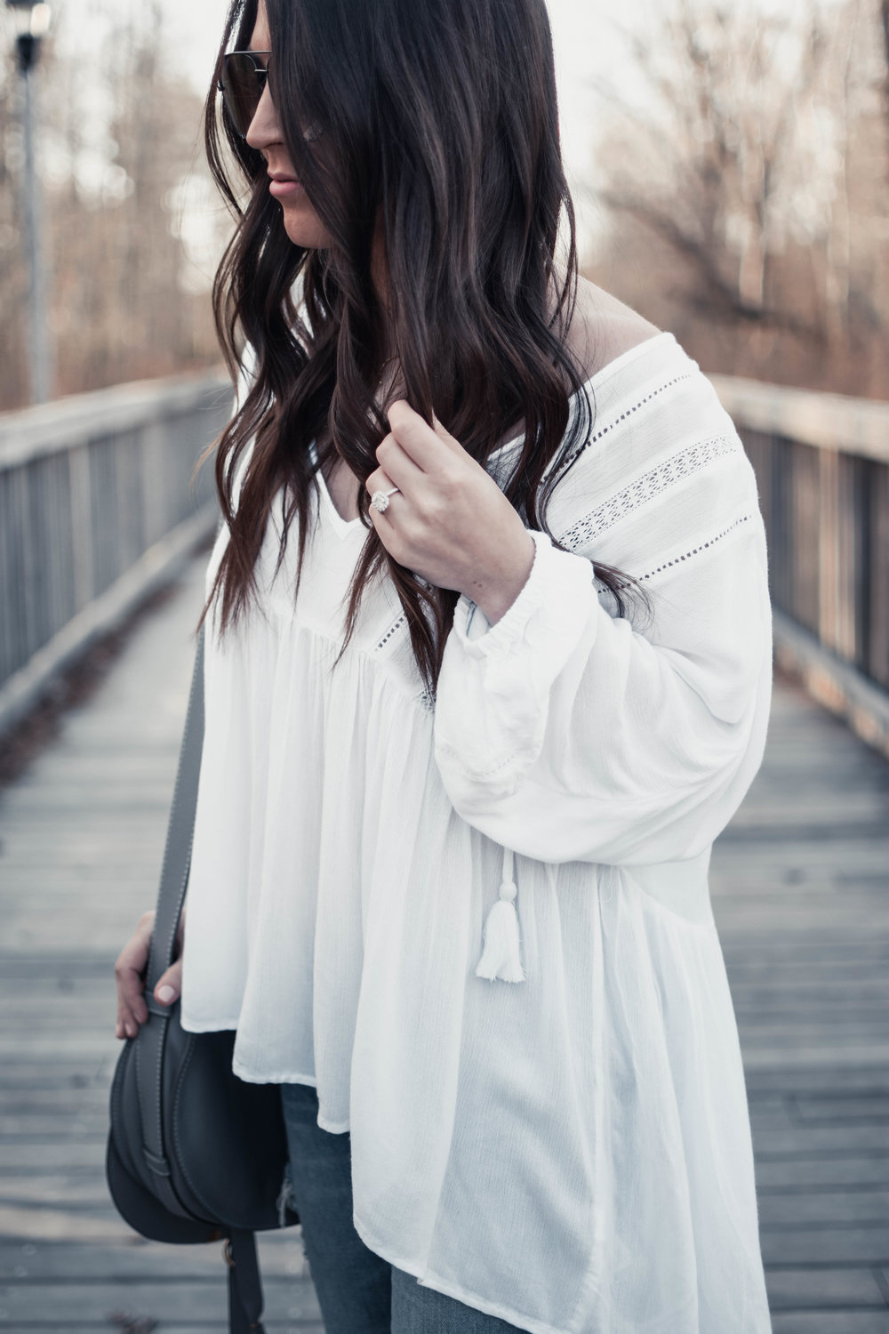 Must Have White Top for Spring | Pine Barren Beauty | spring outfit idea, spring outfit inspiration, spring fashion, how to wear a white top for spring, white flowy top, distressed denim, marc fisher wedges, Chloe bag