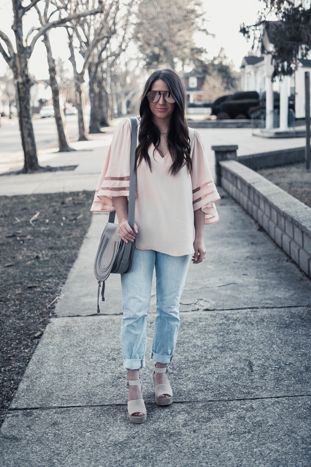 How to Wear the Sheer Trend this Spring | Pine Barren Beauty | blush top with sheer inserts, madewell denim, spring outfit idea, spring outfit inspiration, spring fashion, quay sunnies