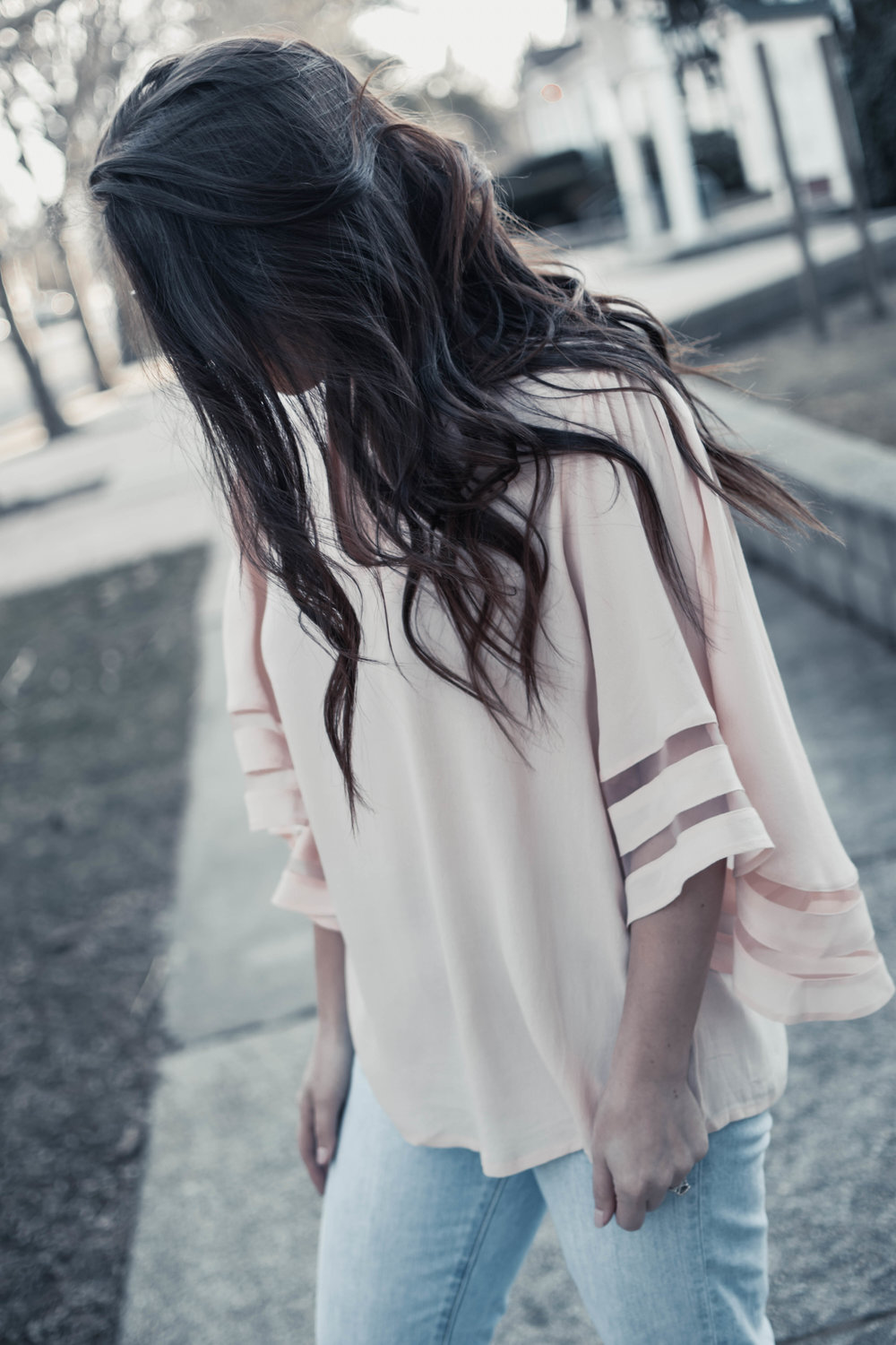How to Wear the Sheer Trend this Spring | Pine Barren Beauty | blush top with sheer inserts, madewell denim, spring outfit idea, spring outfit inspiration, spring fashion