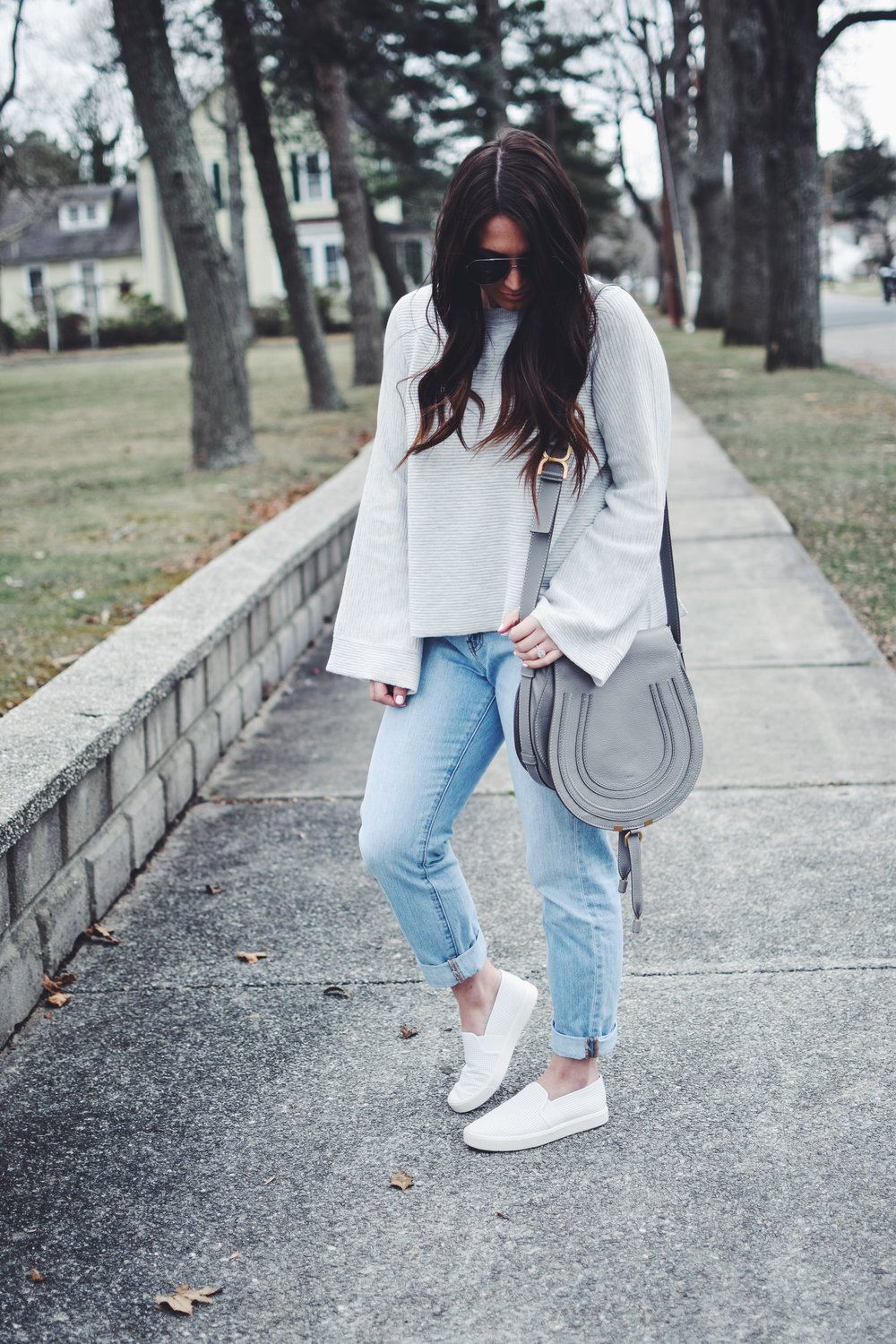 Open Back Sweater for the Spring Transition | Pine Barren Beauty | gentle fawn open back sweater, light weight sweater for spring, spring outfit idea, spring outfit inspiration, spring fashion, madewell denim, high waisted denim, chloe bag, hair goals, hair vibes, every day loose waves