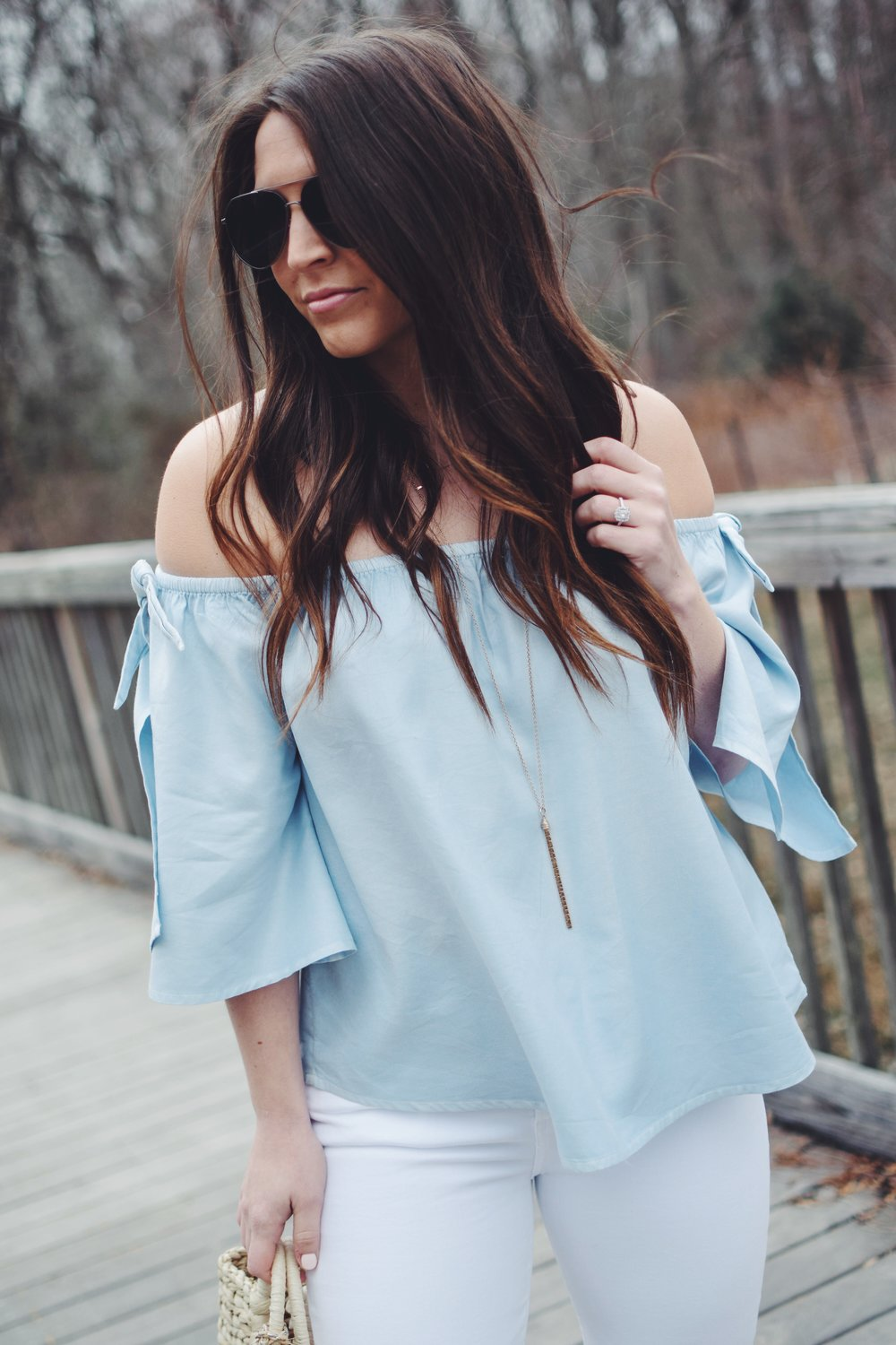 How to Style White Denim for Easter | Pine Barren Beauty | citizen's of humanity white denim, billabong off the shoulder chambray top, Marc fisher wedges, spring outfit idea, spring outfit inspiration, easter outfit idea, what to wear for easter, how to style a straw bag